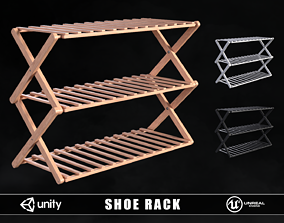 Modern Wooden Shoe Rack 3D model