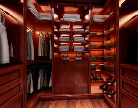 Cloakroom wardrobe clothing 3D