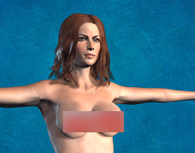 3D model animated game-ready sculpture Naked Girl