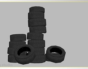 3D model Lowpoly Tires Stack