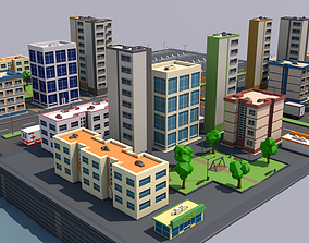 Low Poly City 3D model game-ready