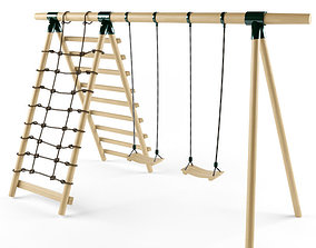 Double Seats Wooden Swing 7 3D