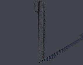 Steel fire Stair 3D asset