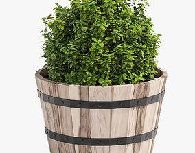 3D Hardwood Round Planter 461