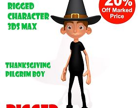 3D Thanksgiving Pilgrim boy cartoon rigged