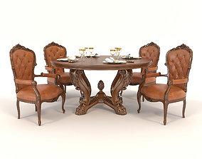 3D European Style Dinning Table 4