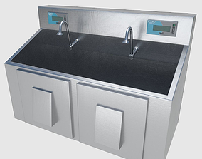 3D asset Scrub Sink - High and Low Poly