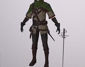 3D model Robin Hood Clothes character