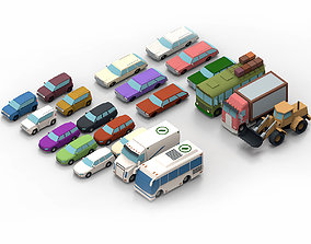 3D model set cartoon cars
