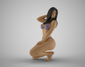 Woman Kneeling on the Beach 2 3D printable model