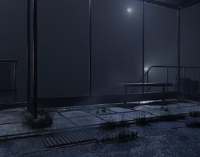 3D asset atmospheric bus stop scene