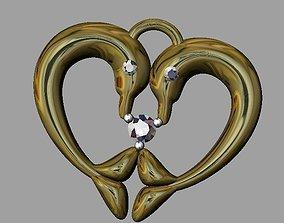 3D print model Dolphin heart pendant