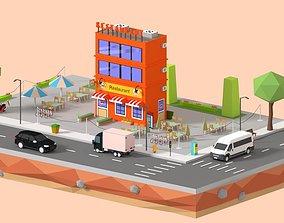 3D asset Low Loly Corner Rrestaurant