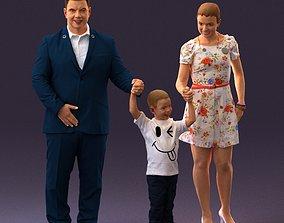 3D model 001029 family fat man happy boy woman