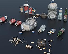 Trash Set PBR Game Ready garbage 3D model