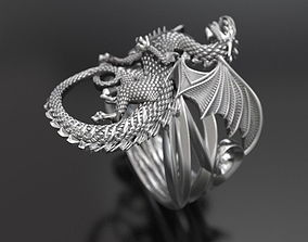 3D printable model whitby-wyrm dragon ring