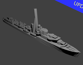 British J Class Destroyer Warship 3D print model