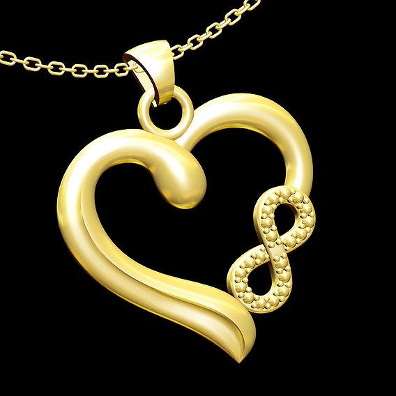 Infinite Heart Pendant jewelry Gold 3D print model 3D print model