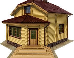 3D model Log house - rounded log block