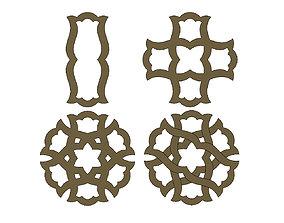 3D printable model Arabian pattern pendants earrings or 1