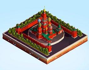 3D model Cartoon Lowpoly Kremlin Landmark