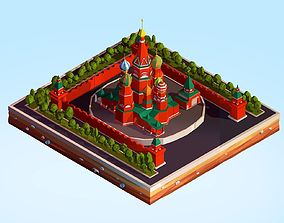 Cartoon Lowpoly Kremlin Landmark 3D asset