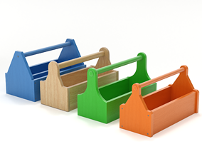 Wooden Toolbox Set 3D model