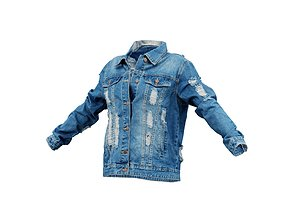 3D model Ripped Back Jeans Jacket