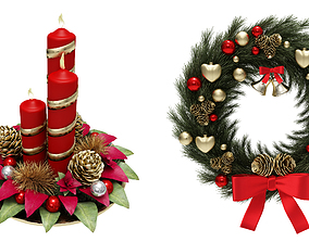 Wreath and candle christmas set 3D model