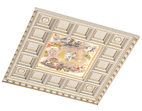 Classical ceiling tile with a fresco 3D