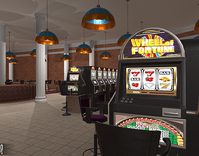 3D asset low-poly Small casino - interior and props