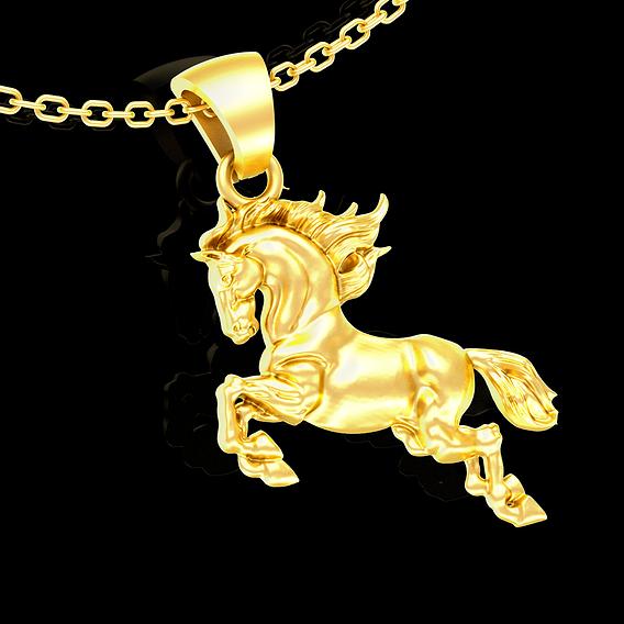 Horse Sculpture Pendant jewelry Gold necklace 3D print model