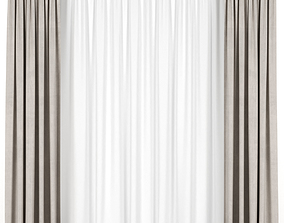 3D model Beige curtains with tulle beige