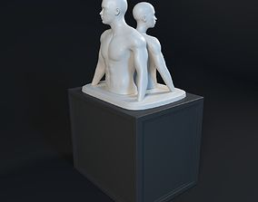 3D Woman and man Statue