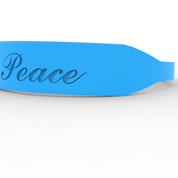 Peace Female Ring with Hard Rough Plastic Blue material