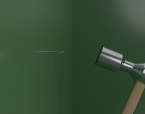 Realistic Hammer Low Poly Prop 3D asset game-ready