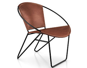 3D Butler Milo Iron Leather Accent Chair
