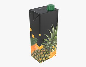 Juice 1500ml cardboard box packaging with cap 3D model