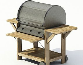 Wooden Metal Grill Barbeque 3D model