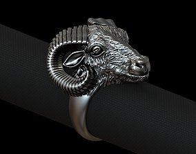 3D printable model Aries ram biker ring with horns