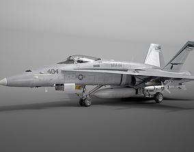 3D McDonnell Douglas FA-18C Hornet rigged