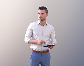 3D model Rick 10782 - Business Man Standing With A Tablet
