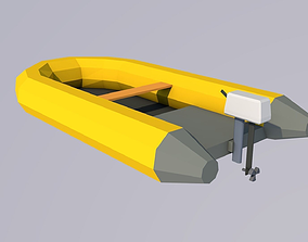 3D asset low poly rubber dinghy with motor