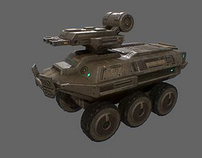 Low poly sci fi armored vehicle unit 3D model