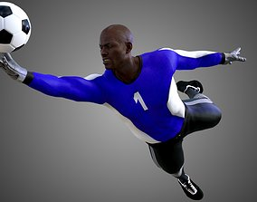 3D model animated African Football Soccer GoalKeeper