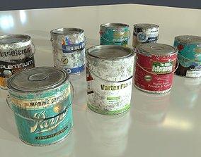 Old Paint Cans 3D asset