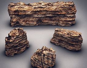 3D model low-poly Rocks Stones set