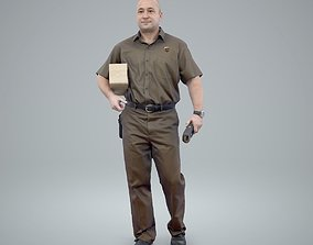 Standing Delivery Man with Uniform 3D model