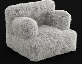 3D Winter Fox Faux-Fur Eco-Lounger White
