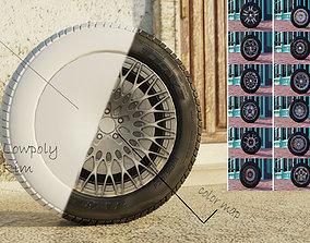 Lowpoly flat sport car wheels 3D asset low-poly